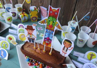 Une Chasse au Trésor - cowboy indien - décoration gâteau