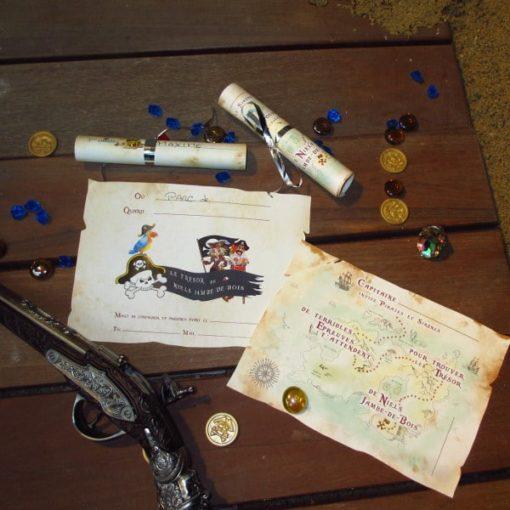 Une Chasse au Trésor - pirate sirène - invitation